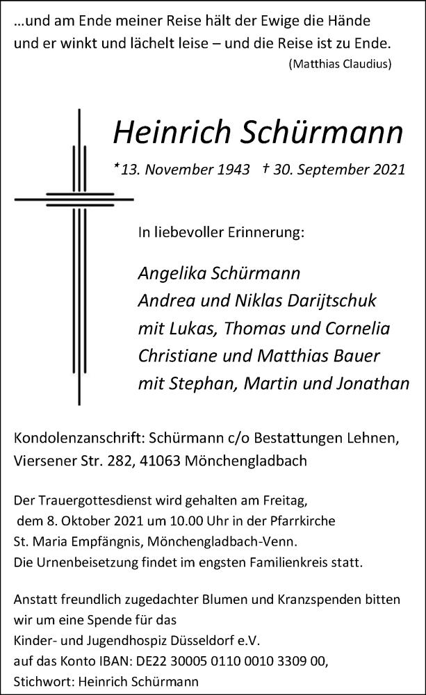 Traueranzeige für Heinrich Schürmann vom 06.10.2021 aus Rheinische Post