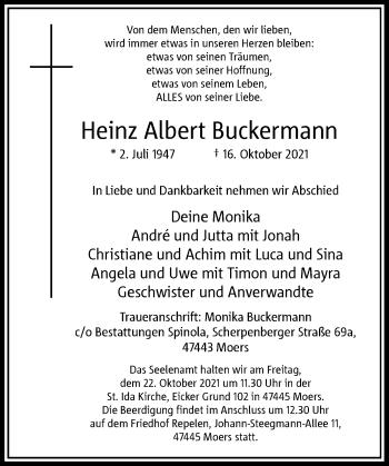Traueranzeige von Heinz Albert Buckermann von Rheinische Post