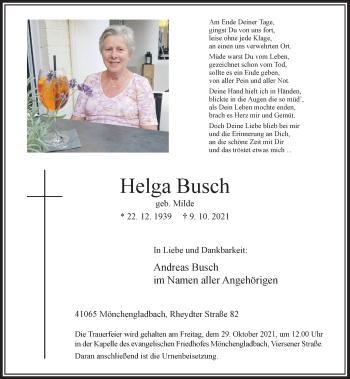 Traueranzeige von Helga Busch von Rheinische Post