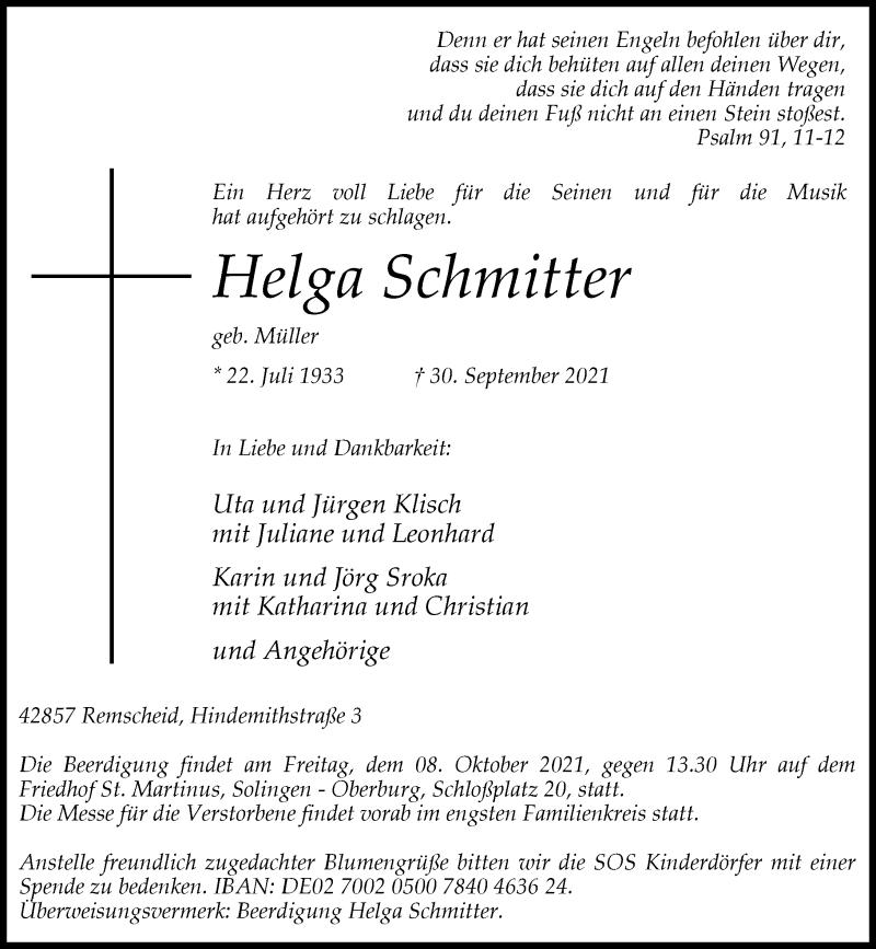 Traueranzeige für Helga Schmitter vom 06.10.2021 aus Rheinische Post
