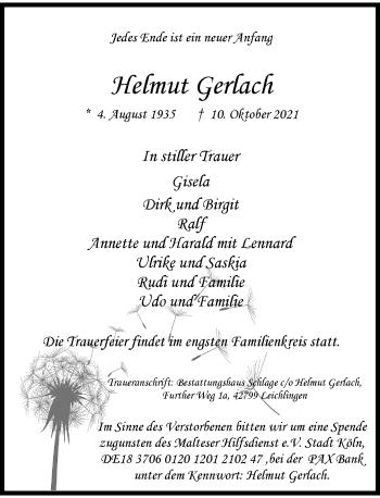 Traueranzeige von Helmut Gerlach von Rheinische Post