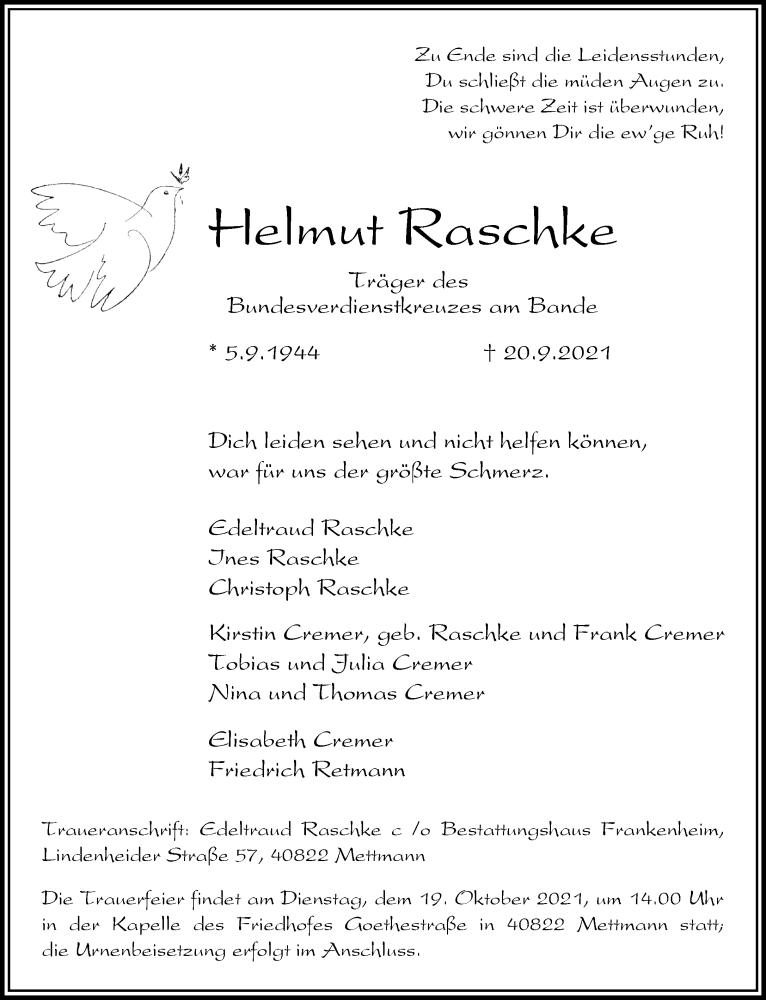 Traueranzeige für Helmut Raschke vom 09.10.2021 aus Rheinische Post