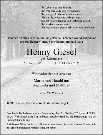 Traueranzeige von Henny Giesel von Rheinische Post