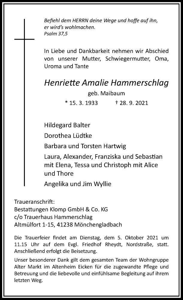 Traueranzeige für Henriette Amalie Hammerschlag vom 02.10.2021 aus Rheinische Post