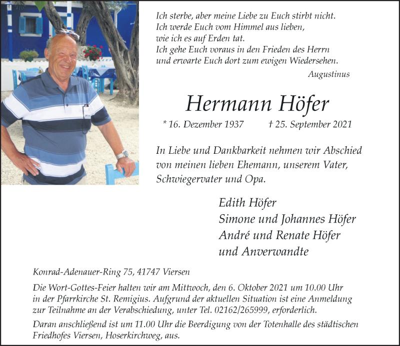 Traueranzeige für Hermann Höfer vom 02.10.2021 aus Rheinische Post