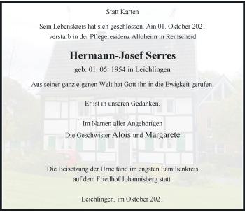 Traueranzeige von Hermann-Josef Serres von Rheinische Post