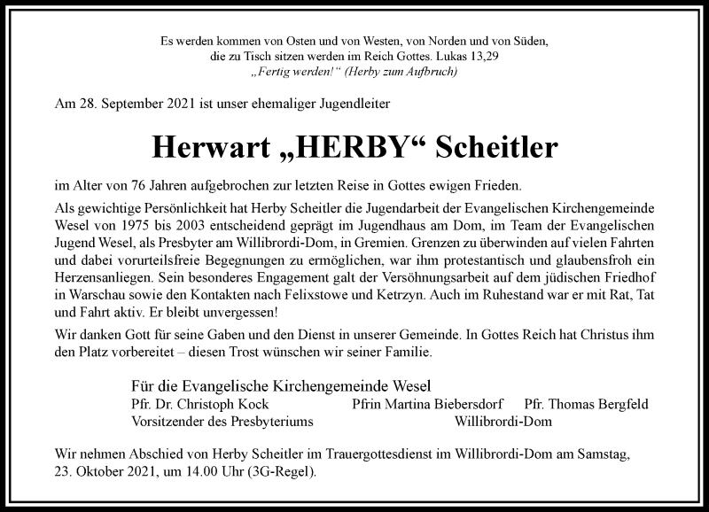 Traueranzeige für Herwart Scheitler vom 09.10.2021 aus Rheinische Post