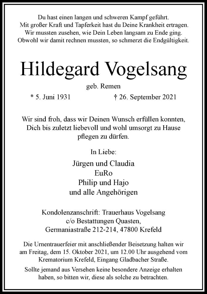 Traueranzeige für Hildegard Vogelsang vom 09.10.2021 aus Rheinische Post