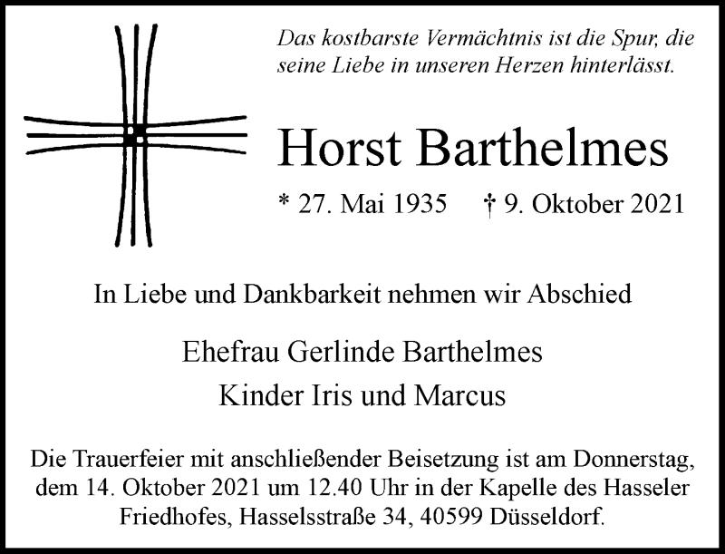 Traueranzeige für Horst Barthelmes vom 13.10.2021 aus Rheinische Post