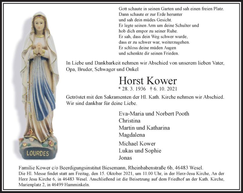 Traueranzeige für Horst Kower vom 09.10.2021 aus Rheinische Post