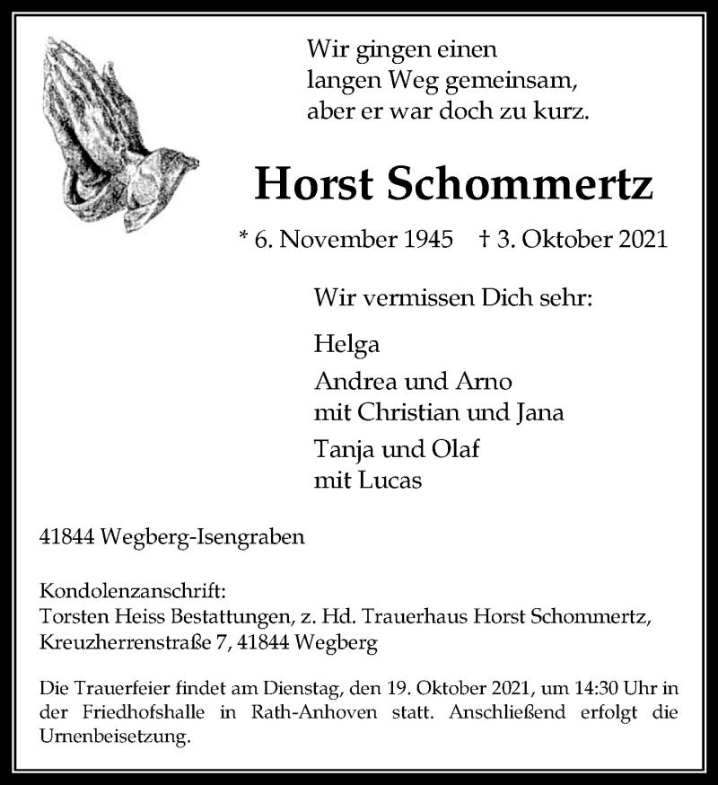 Traueranzeige für Horst Schommertz vom 09.10.2021 aus Rheinische Post