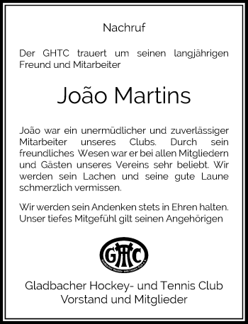 Traueranzeige von Joao Martins von Rheinische Post