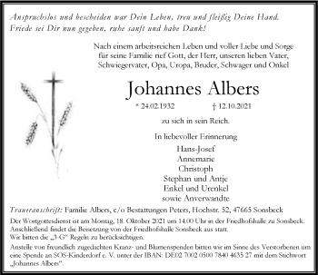 Traueranzeige von Johannes Albers von Rheinische Post