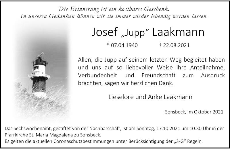 Traueranzeige für Josef Laakmann vom 09.10.2021 aus Rheinische Post