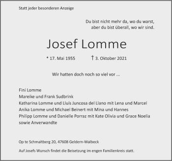 Traueranzeige von Josef Lomme von Rheinische Post