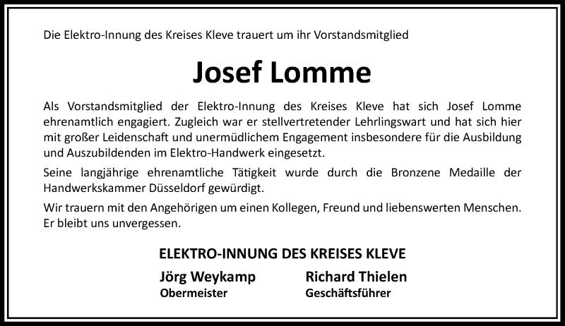 Traueranzeige für Josef Lomme vom 13.10.2021 aus Rheinische Post
