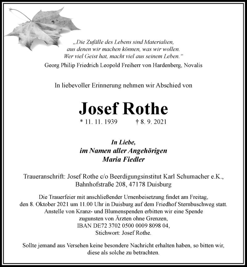 Traueranzeige für Josef Rothe vom 06.10.2021 aus Rheinische Post