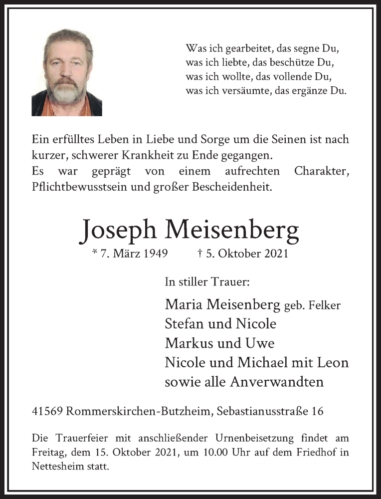 Traueranzeige für Joseph Meisenberg vom 09.10.2021 aus Rheinische Post