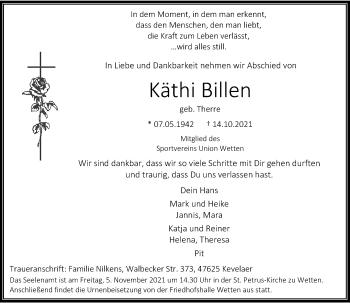 Traueranzeige von Käthi Billen von Rheinische Post