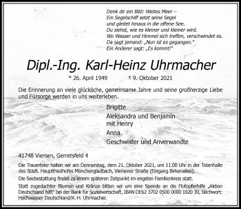 Traueranzeige von Karl-Heinz Uhrmacher von Rheinische Post