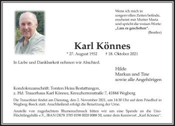 Traueranzeige von Karl Könnes von Rheinische Post