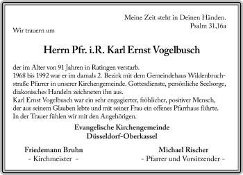 Traueranzeige von Karl Ernst Vogelbusch von Rheinische Post