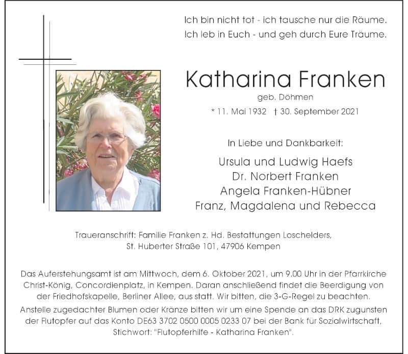 Traueranzeige für Katharina Franken vom 02.10.2021 aus Rheinische Post