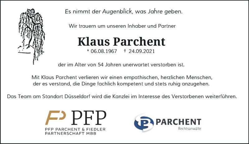 Traueranzeige für Klaus Parchent vom 05.10.2021 aus Rheinische Post