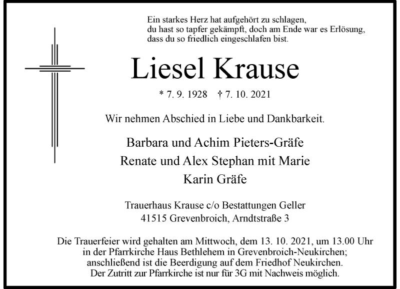Traueranzeige für Liesel Krause vom 09.10.2021 aus Rheinische Post