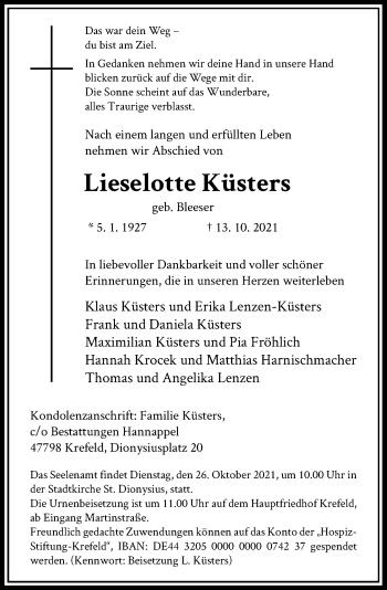 Traueranzeige von Lieselotte Küsters von Rheinische Post