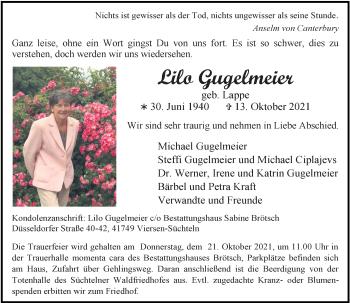 Traueranzeige von Lilo Gugelmeier von Rheinische Post