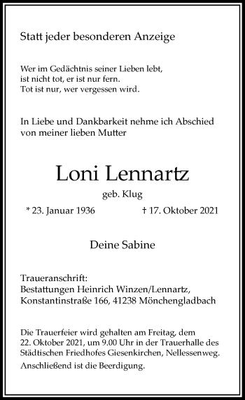 Traueranzeige von Loni Lennartz von Rheinische Post