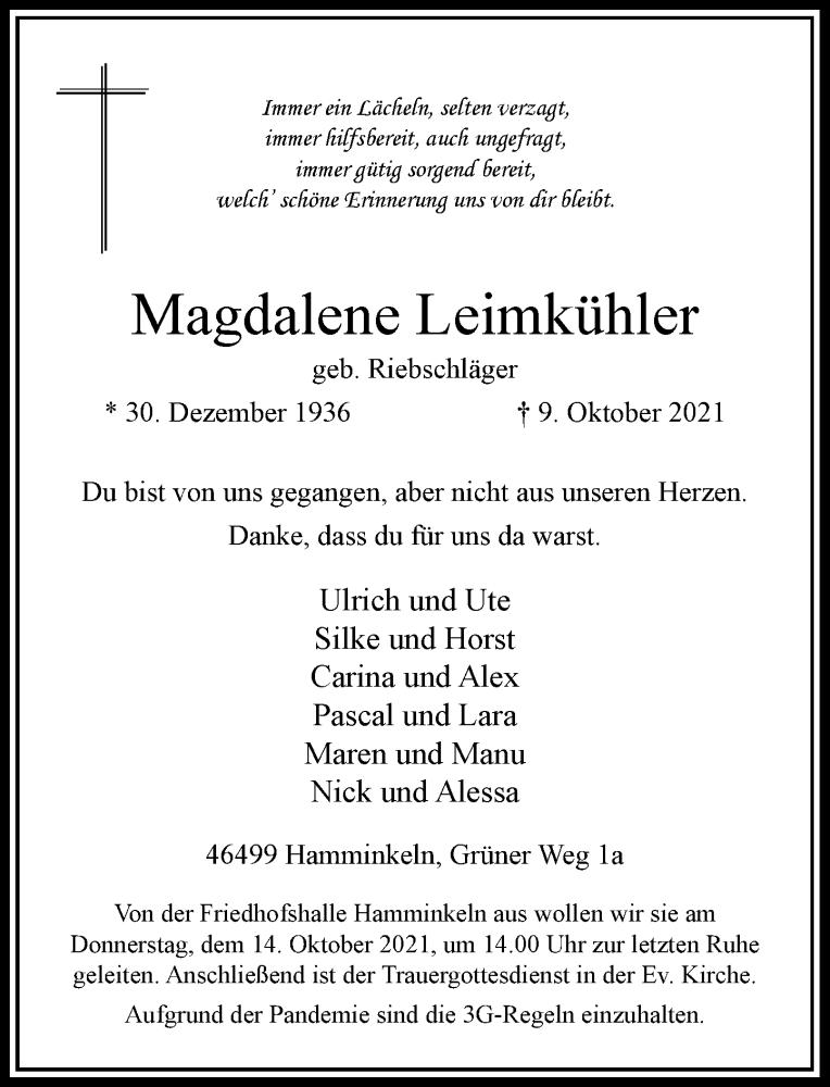 Traueranzeige für Magdalene Leimkühler vom 12.10.2021 aus Rheinische Post