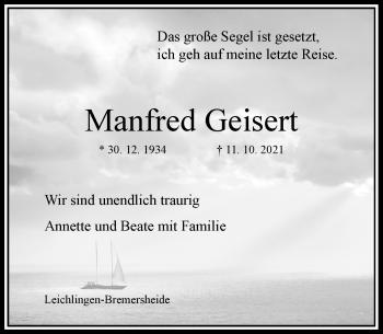 Traueranzeige von Manfred Geisert von Rheinische Post