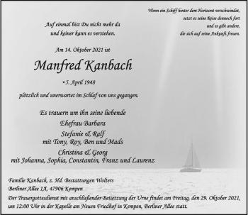 Traueranzeige von Manfred Kanbach von Rheinische Post