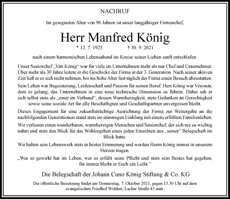 Traueranzeige für Manfred König vom 06.10.2021 aus Rheinische Post