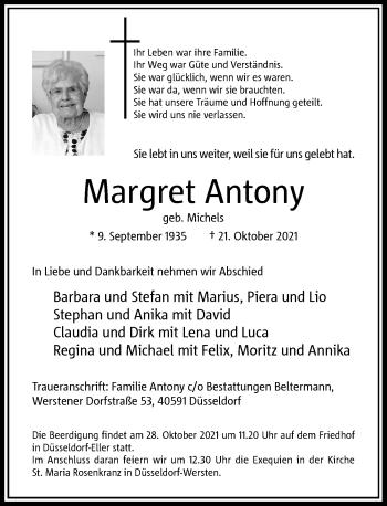 Traueranzeige von Margret Antony von Rheinische Post