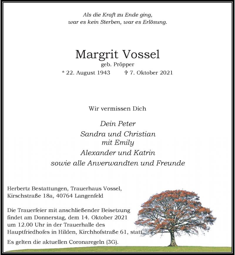 Traueranzeige für Margrit Vossel vom 11.10.2021 aus Rheinische Post
