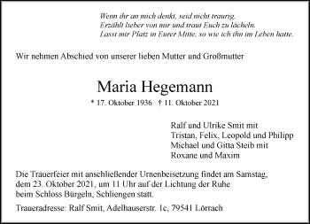 Traueranzeige von Maria Hegemann von Rheinische Post