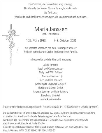 Traueranzeige von Maria Janssen von Rheinische Post