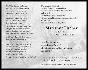 Traueranzeige von Marianne Fischer von Rheinische Post
