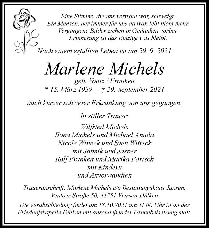 Traueranzeige für Marlene Michels vom 09.10.2021 aus Rheinische Post