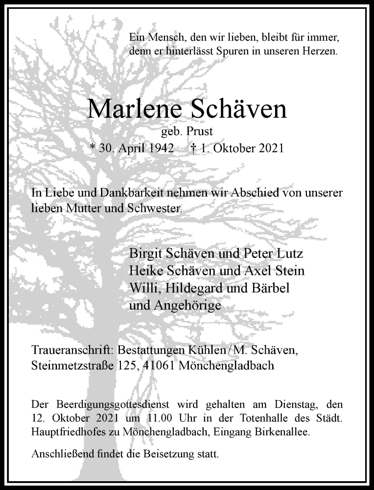 Traueranzeige für Marlene Schäven vom 09.10.2021 aus Rheinische Post