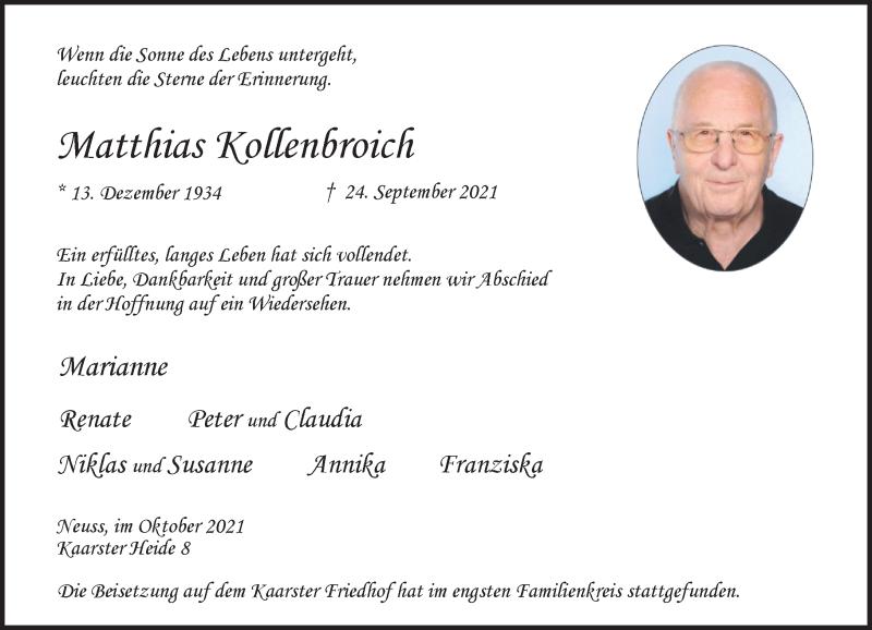 Traueranzeige für Matthias Kollenbroich vom 09.10.2021 aus Rheinische Post