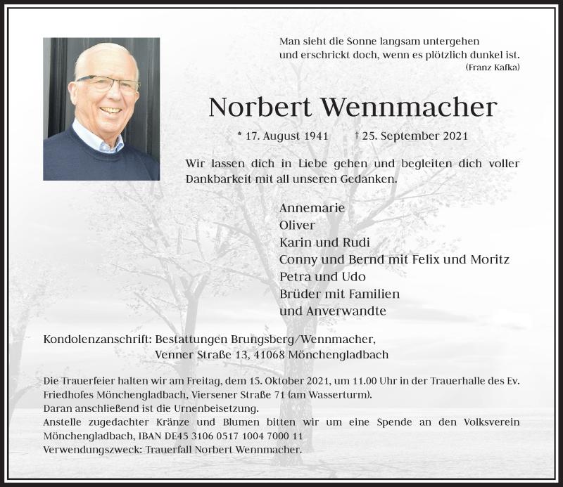 Traueranzeige für Norbert Wennmacher vom 09.10.2021 aus Rheinische Post