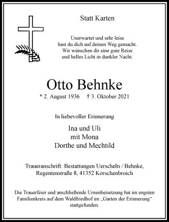 Traueranzeige von Otto Behnke von Rheinische Post