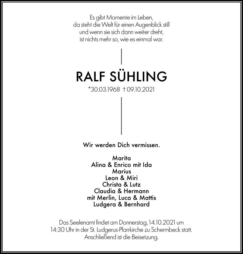 Traueranzeige für Ralf Sühling vom 12.10.2021 aus Rheinische Post