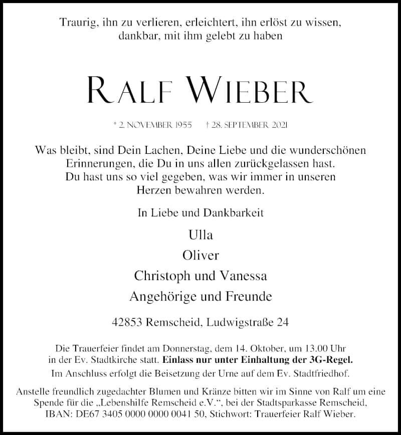 Traueranzeige für Ralf Wieber vom 09.10.2021 aus Rheinische Post