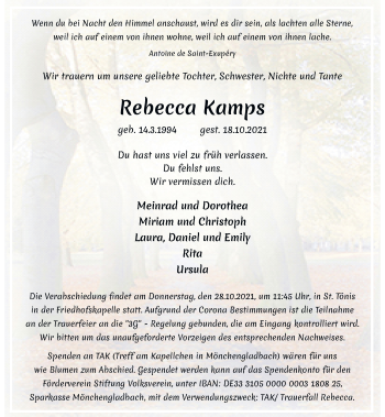 Traueranzeige von Rebecca Kamps von Rheinische Post