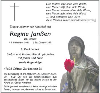 Traueranzeige von Regine Janßen von Rheinische Post